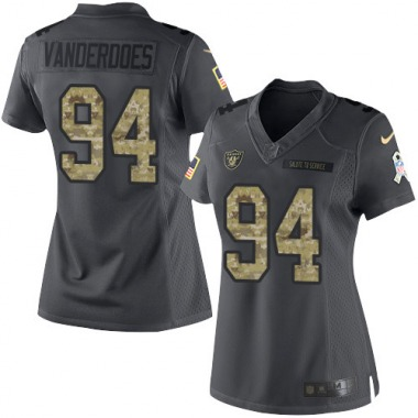 Women's Nike Oakland Raiders Eddie Vanderdoes 2016 Salute to Service Jersey - Black Limited