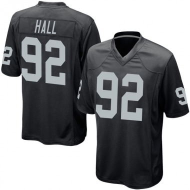 Youth Nike Oakland Raiders P.J. Hall Team Color Jersey - Black Game